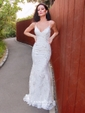 Trumpet/Mermaid V-neck Tulle Sweep Train Sequins Prom Dresses