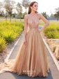A-line V-neck Glitter Sweep Train Prom Dresses