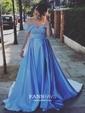 Princess Off-the-shoulder Satin Sweep Train Split Front Prom Dresses