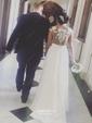 A-line Scoop Neck Chiffon Sweep Train Appliques Lace Prom Dresses