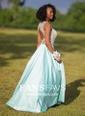 Princess Scoop Neck Satin Floor-length Beading Prom Dresses