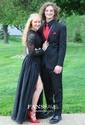 A-line Scoop Neck Lace Chiffon Ankle-length Split Front Prom Dresses