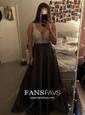 Princess V-neck Satin Floor-length Beading Prom Dresses