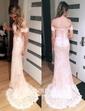 Trumpet/Mermaid Off-the-shoulder Lace Sweep Train Appliques Lace Prom Dresses